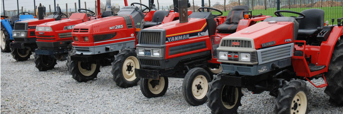Yard with used compact tractors in Ireland