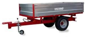 Large, 3-way tipping trailer for compact tractor